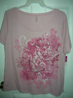 NEW womens shirt size MEDIUM 8-10 PINK  FLORAL BUTTERFLY T8