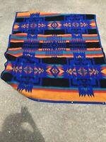 Vintage Biederlack Southwest Design Reversible Fleece Throw Blanket-Cuddle Wrap