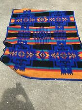 Vintage Biederlack Southwest Design Reversible Fleece Throw Blanket-Cuddle Wrap
