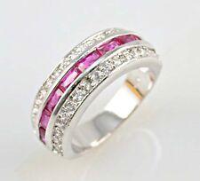 Elegant woman princess cut pink sapphire 925 silver wedding ring size 6
