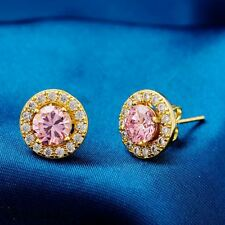 Brand Trend Real Gold Plated Pink Cubic Zircon Lovely Stud Earrings Women