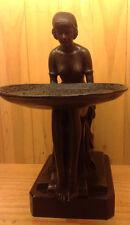 Art Deco Sculpture Female Body Nude Girl Woman Hold Tray Bronze Statue