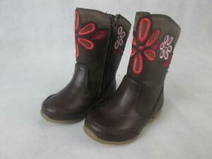 STRIDE RITE LILIANNA FLORAL EMBROIDERED BROWN RIDING BOOTS SHOES GIRLS 6M NEW