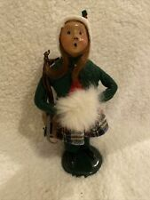 "Vintage 1989 Byers Choice Carolers Girl Holding Skates 10"" White Muffs Figurine"