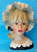 "VINTAGE HTF 7"" RELPO K1782 BLONDE TEEN LADY HEAD VASE HEADVASE NEAR MINT COND."