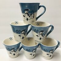 6 Hidden Valley Snowman Mugs by Canterbury Potteries - Blue & White, Ice Skating