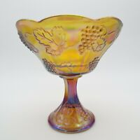 Indiana Glass Iridescent Carnival Glass Pedestal Compote with Grape Design
