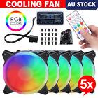3-5 Pack Cooling Fan Computer Case PC Quiet 120mm 12V RGB LED Remote Control AU