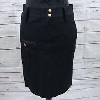 Ralph Lauren Petite Women's Cargo Skirt Black Knee Length Cotton Size 2P