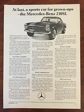 Vintage 1966 Original Print Ad MERCEDES-BENZ 230SL Sports Car for Grown-Ups