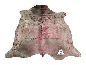 Burgundy Acid Washed COWHIDE RUG – Size: 7'x 6' Ft – Premium Cow Hide Rug