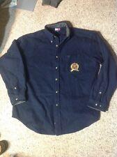 Mens Tommy Hilfiger Navy Blue Wool Blend Big Logo Crest winter SHIRT LARGE EUC