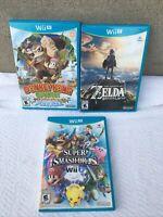 Nintendo Wii U Games Lot Bundle 3 games Zelda, Smash Brothers, Donkey Kong