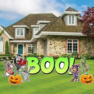 Boo Yard Decoration with Halloween Characters, 12pcs, Booed Yard Signs