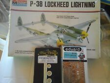 P 38 LOCKHEED LIGHTNING 1/48 SCALE MONOGRAM MODEL+PHOTOETCHED+RESIN WHEEL