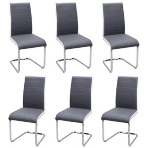 2/4/6Pcs Chrome Dining Chairs Faux Leather Padded Seat Metal Legs Home Kitchen