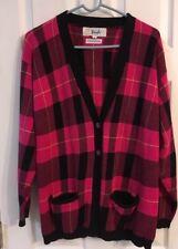 Pringle Of Scotland Pink Black Plaid Cotton V Neck Cardigan Sweater Sz S