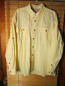 Orvis Men's XXL Yellow Check Vented Long Sleeve Vented Fishing Shirt Pocket EUC