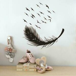 Large Feather Wall Art Sticker Birds Vinyl Decal Living Bedroom Room Home R0B9