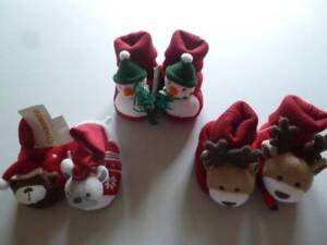 Gymboree Red Christmas Holiday Slippers Reindeer Bears Snowmen UPick 1-2 3-4 NEW