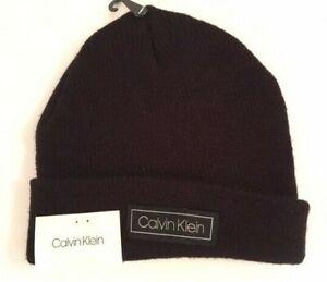 Calvin Klein Beanie Hat Men's One Size Black Winter Skull Cap Cuff Cuffed, NEW