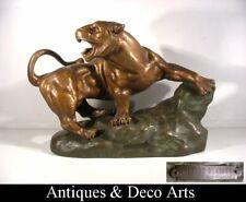 Rubens Capaldo Lionne Blessée Sculpture Art Déco Terre-Cuite Fontaine & Durieux