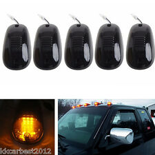 5x Car Pickup Cab Roof Top AMBER LED Lights Smoke Lens Cover Marker Running Lamp