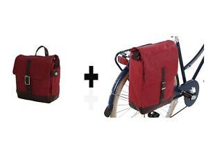 BOBBIN CYCLE PORTFOLIO PANNIER AND HANDLEBAR BAG - IN SKY BLUE OR CORAL