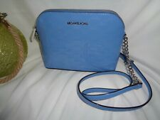 Michael Kors Cindy Large Dome Crossbody Handbag Powder Blue MK Embossed Patent