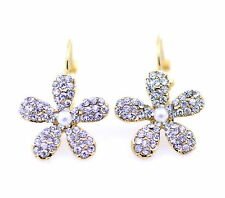 Gold plum flower earrings with crystal, 60's retro