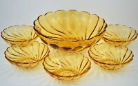 VINTAGE HAZEL ATLAS GLASS AMBER COLONIAL SWIRL FRUIT BERRY BOWLS SET OF 6