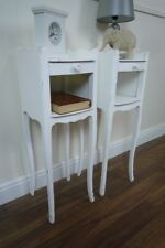 Handmade Pair of High Leg French Bedside Tables in White