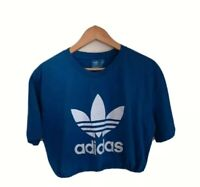 WOMEN'S ADIDAS ROYAL BLUE VINTAGE CROPPED BUNGEE T-SHIRT GYM WEAR CASUAL UK L
