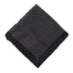 Isaia Black and Gray Medallion Print Wool-Silk Pocket Square NWT