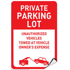 Private Parking Other Vehicles Towed At Owner'S Expense Label Decal Sticker