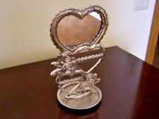Vtg Silverplated Earring Organizer W/Mirror, Hearts & Roses-Base For Watch/Rings