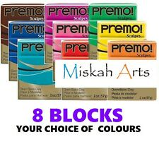Sculpey PREMO -  Polymer Clay - 57g  - 8 BLOCKS - YOUR CHOICE OF COLOURS