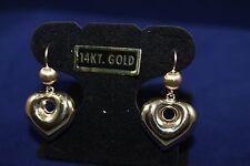 14K Italian yellow Gold Puffed Heart Earrings - 100 % Authentic Jewelry