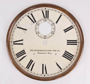 Standard Electric master clock dial with wood surround @ 1910 Original Excellent