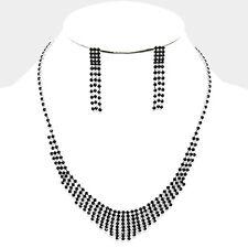 Black bridal jewellery set diamante rhinestone sparkly prom party necklace 204