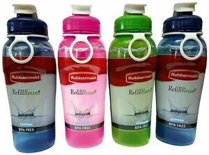 Rubbermaid Refill Reuse 20 oz Jumbo Size CHUG Bottle Carry Ring Assorted Colors