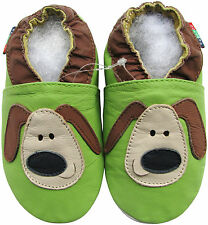 shoeszoo soft sole leather baby shoes green puppy 18-24m S