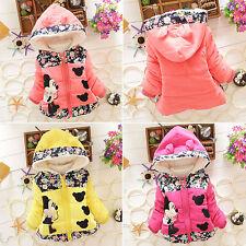 Kids Baby Girls Disney Minnie Mouse Hooded Jacket Coat Zip Winter Warm Snowsuit