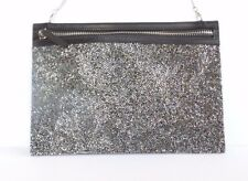 Swarovski Silver Crystal Clutch Purse Bag Zip Removable Chain Calfskin Leather
