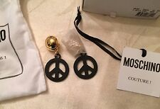 AW15 Moschino Couture X Jeremy Scott Peace Sign Black Metal Clip On Earrings
