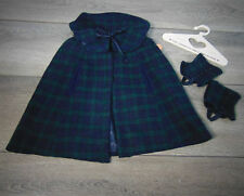 """American Girl 18"""" Doll Samantha PLAID CAPE & GAITERS Winter Coat Outfit HANGER"""