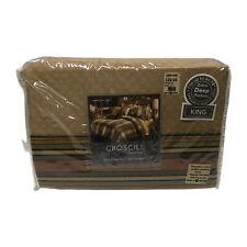 CROSCILL Home King Sheet Set 300 Thread Count Carrington Stripe Bedding NOS