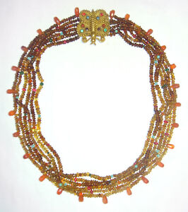 Statement ETRUSCAN STYLE 6 Strand MULTI-GEMSTONE BEAD Antique BUTTERFLY NECKLACE