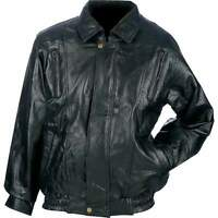 Men's Bomber Style Black Top Grain Lambskin Leather Jacket Coat