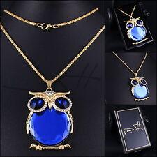 Lange Halskette & Anhänger *Blaue Eule*, Gelbgold pl, Swarovski Elements, +Etui